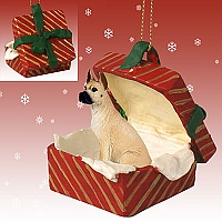 Great Dane Fawn Gift Box Red Ornament