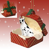 Great Dane Harlequin Gift Box Red Ornament