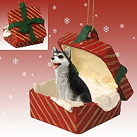 Husky Black & White w/Brown Eyes Gift Box Red Ornament
