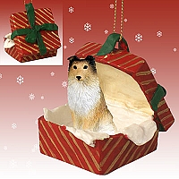 Sheltie Sable Gift Box Red Ornament