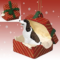 Springer Spaniel Liver & White Gift Box Red Ornament