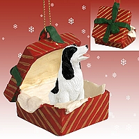 Springer Spaniel Black & White Gift Box Red Ornament