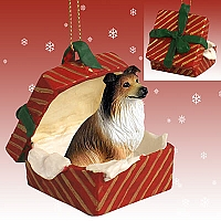 Collie Sable Gift Box Red Ornament