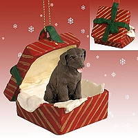 Labrador Retriever Chocolate Gift Box Red Ornament