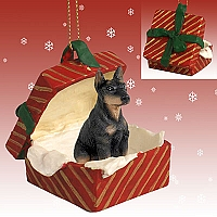 Doberman Pinscher Black w/Cropped Ears Gift Box Red Ornament