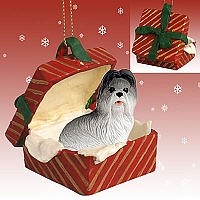 Shih Tzu Gray Gift Box Red Ornament