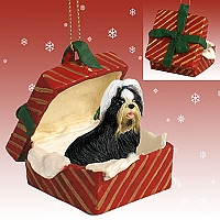 Shih Tzu Black & White Gift Box Red Ornament