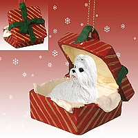 Shih Tzu White Gift Box Red Ornament