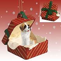 Saint Bernard w/Rough Coat Gift Box Red Ornament