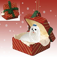 Maltese Gift Box Red Ornament
