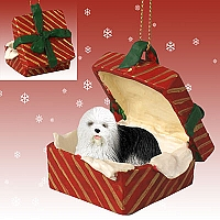Old English Sheepdog Gift Box Red Ornament