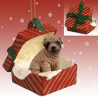 Shar Pei Brown Gift Box Red Ornament