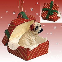 Shar Pei Cream Gift Box Red Ornament