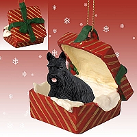 Scottish Terrier Gift Box Red Ornament