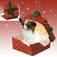 Papillon Brown & White Gift Box Red Ornament