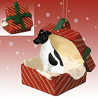 Fox Terrier Black & White Gift Box Red Ornament