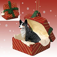 Welsh Corgi Cardigan Gift Box Red Ornament