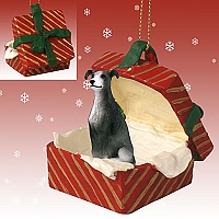 Greyhound Blue Gift Box Red Ornament