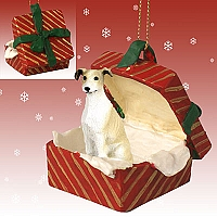 Greyhound Tan & White Gift Box Red Ornament