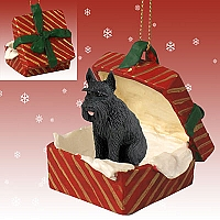 Schnauzer Giant Black Gift Box Red Ornament