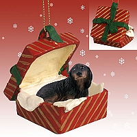 Dachshund Longhaired Black Gift Box Ornament