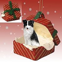 Border Collie Gift Box Red Ornament