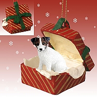 Jack Russell Terrier Brown & White w/Rough Coat Gift Box Red Ornament