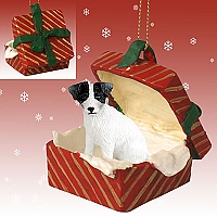 Jack Russell Terrier Black & White w/Rough Coat Gift Box Red Ornament