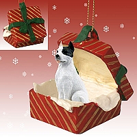 Pit Bull Terrier White Gift Box Red Ornament