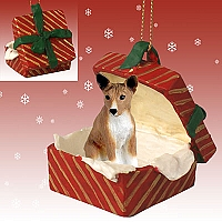 Basenji Gift Box Red Ornament
