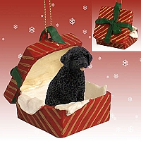 Portuguese Water Dog Gift Box Red Ornament