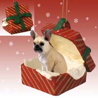 French Bulldog Fawn Gift Box Red Ornament