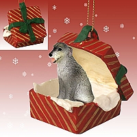 Irish Wolfhound Gift Box Red Ornament