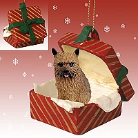 Norwich Terrier Gift Box Red Ornament