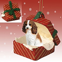 Cavalier King Charles Spaniel Brown & White Gift Box Red Ornament