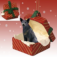 Australian Cattle BlueDog Gift Box Red Ornament