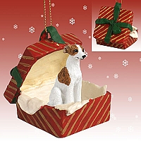 Whippet Brindle & White Gift Box Red Ornament