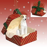 Whippet Tan & White Gift Box Red Ornament