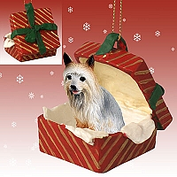 Silky Terrier Gift Box Red Ornament
