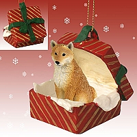 Shiba Inu Gift Box Red Ornament
