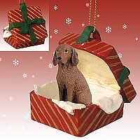 Vizsla Gift Box Red Ornament