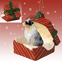Australian Shepherd Blue w/Docked Tail Gift Box Ornament