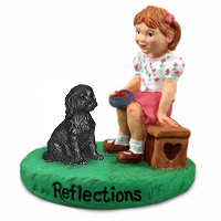 Labradoodle Black Reflections w/Girl Figurine