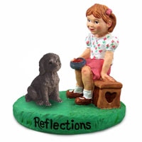 Labradoodle Chocolate Reflections w/Girl Figurine