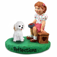 Cockapoo White Reflections w/Girl Figurine