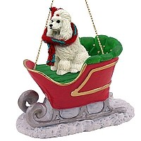 Poodle White Sleigh Ride Ornament