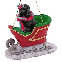 Poodle Black Sleigh Ride Ornament