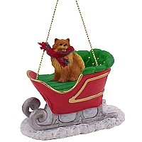 Pomeranian Red Sleigh Ride Ornament