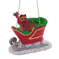 Yorkshire Terrier Sleigh Ride Ornament