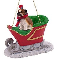 Bulldog Sleigh Ride Ornament
